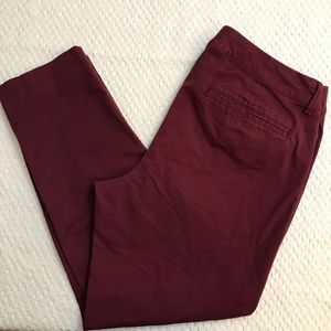 Old Navy Pixie Ankle Length Pants Red/Maroon 12